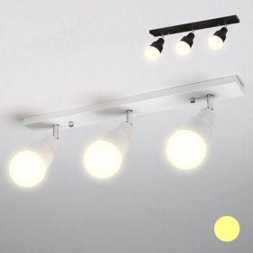 베이직 레일 직부등 3등 36W 전구색(노란빛) 램프포함