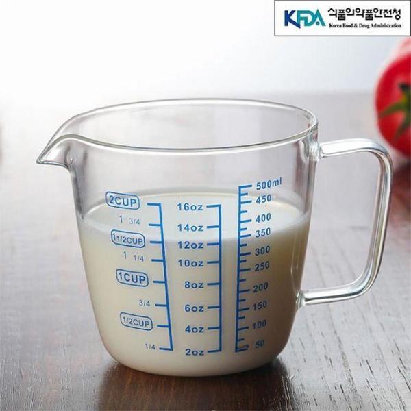 유리 계량컵 500ml 조리계량컵 눈금컵 계량용기 비 상품이미지