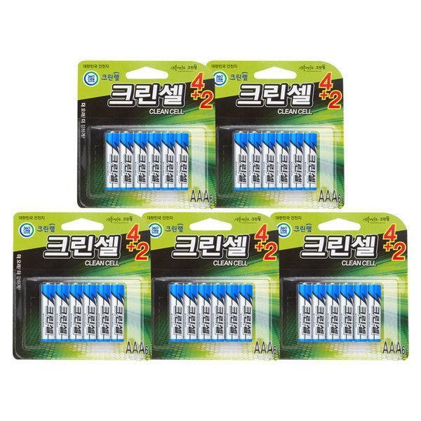 카드30알/ 크린랩 크린셀 알카라인 건전지(AAA6입x5P) 상품이미지
