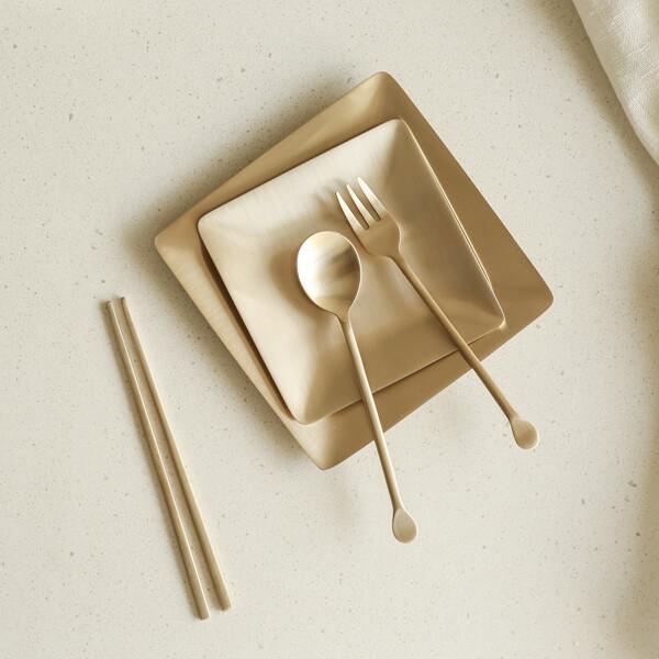 (현대Hmall)놋담 유기 어린이 둥근 수저 포크 세트 상품이미지