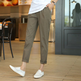 CLICKnFUNNY The slim linen baggy pants/cropped straight pants/waist banded