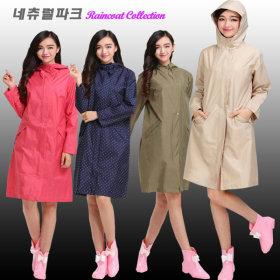 프렌치 여성 레인코트 판초우의 우비 우의 비옷