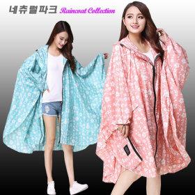 여성 플라워 판초우의 레인코트 우비 우의 비옷