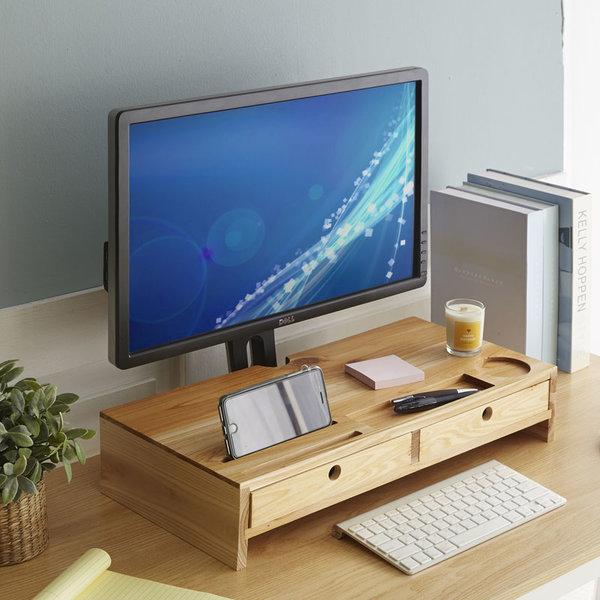HX-71515 삼나무원목 모니터선반 서랍형/다용도받침대 상품이미지