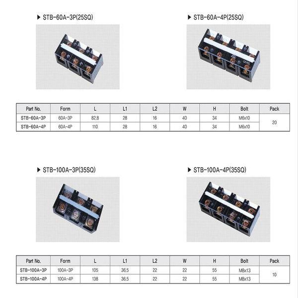 고정식단자대4P100A단자대100A4PSTB-100A-4P10개1박스 상품이미지