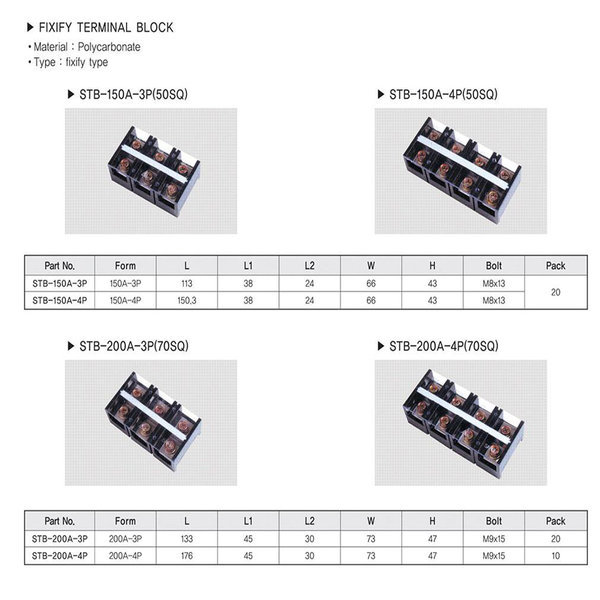 터미널블럭4P200A단자대200A4PSTB-200A-4P10개1박스 상품이미지