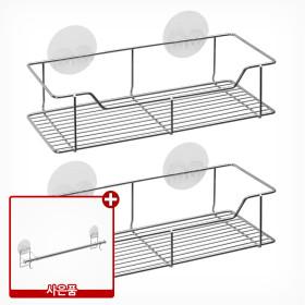 타이탄 매직 후크 사각 선반 1단 2개 /스텐 욕실 정리