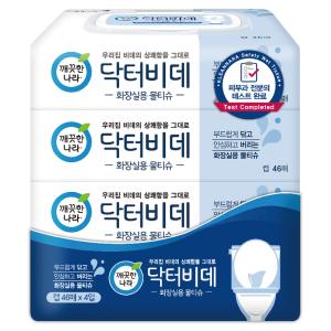 (1+1)깨끗한나라_닥터비데화장실용물티슈캡_46매x4입