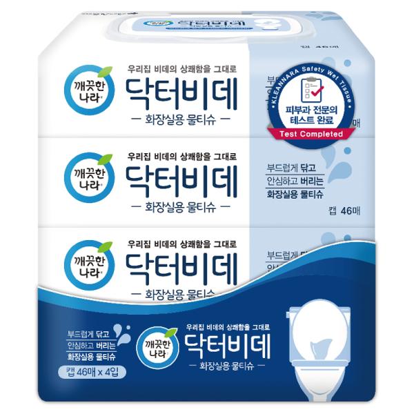 (1+1)깨끗한나라 닥터비데화장실용물티슈캡 46매x4입 상품이미지