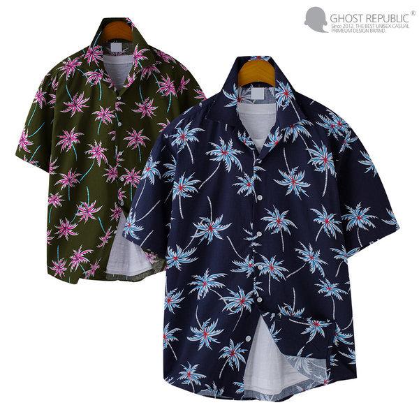 남자 하와이안 바캉스룩 반팔 셔츠 / 남자 반팔셔츠 상품이미지