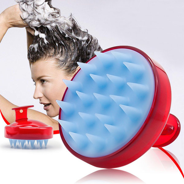 두피마사지기 실리콘 레드/머리 지압 샴푸 헤어브러쉬 상품이미지