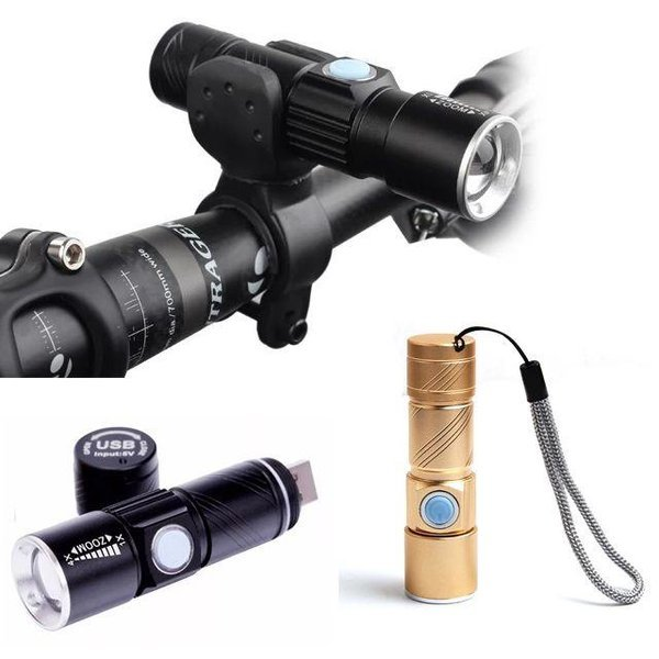 미니 USB 충전식 자전거라이트 전조등 손전등 랜턴 상품이미지