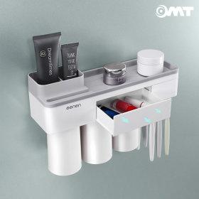OMT 욕실 흡착형 2단 칫솔걸이 수납 양치컵 OB-TH22