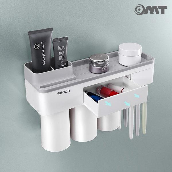 OMT 욕실 흡착형 2단 칫솔걸이 양치컵 선반 OB-TH22 상품이미지
