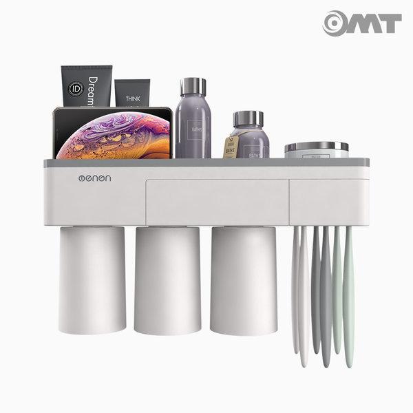 OMT 욕실 흡착형 3단 칫솔걸이 수납 양치컵 OB-TH33 상품이미지