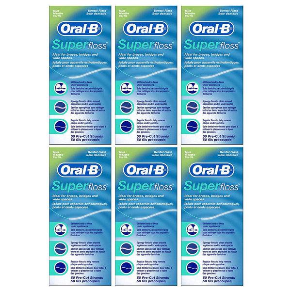 Oral B Super Floss 오랄비 슈퍼플로스 치실 50 x 6개 상품이미지