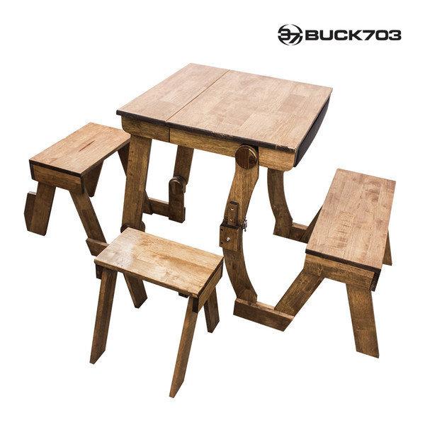 감성 고무나무 원목 2인용 테이블 의자세트/정원/야외 상품이미지