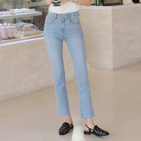 [PLAYPOP] Women`s jeans and pants collection / slim fit / waist drawstring / destroyed / frayed hem