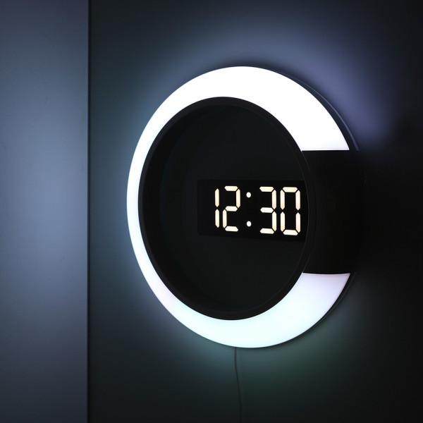 거실 LED벽시계 듀얼 미러클락 무드등 상품이미지