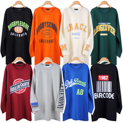Long-sleeve Long T-shirt/Plus Size/Women/Boxy T-shirt/Dress/Maternity Clothes/Cotton/T-shirt