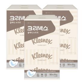 클래식 미용티슈 180매 8개입X3팩/휴지/각티슈