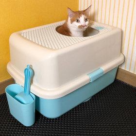 묘심 고양이화장실 대형 큰모래삽 거치대 크림탑 블루