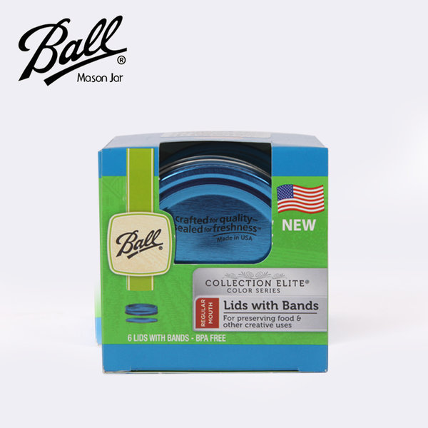 볼 메이슨 블루 레귤러 뚜껑 밴드 6p세트/밀폐유리병 상품이미지