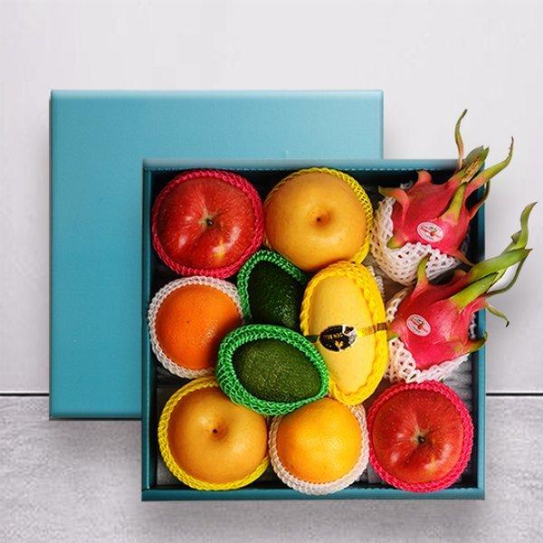 명작과일선물세트  사과2과+배2과+오렌지2+아보카도2과+용과2과+망고1과 상품이미지