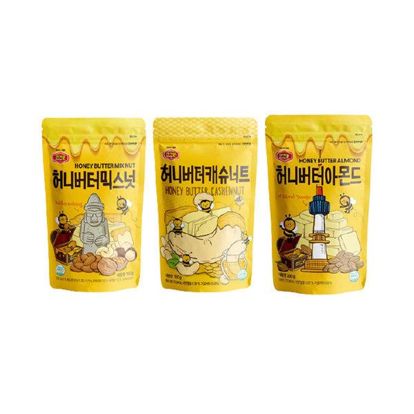 허니버터모음 아몬드200g+믹스넛160g+캐슈너트160g 상품이미지