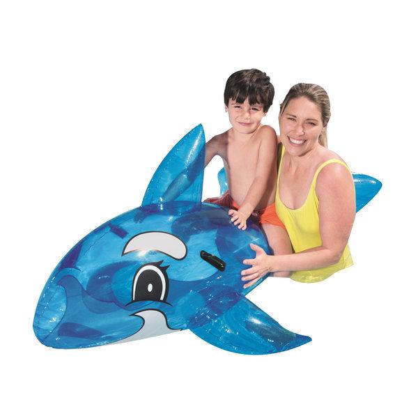 BW 41037 타고노는 투명 돌고래 라이더 튜브 블루 상품이미지