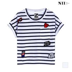 NII 아동 와펜 스트라이프 티셔츠_2NNKARTM3451