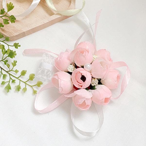꽃팔찌 방울연핑크 팔찌 셀프 웨딩 촬영소품 브라이덜 상품이미지