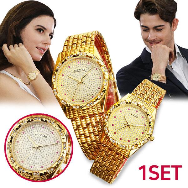 시계 미츠바 보석 시계 남성 여성 손목시계 금장시계 상품이미지
