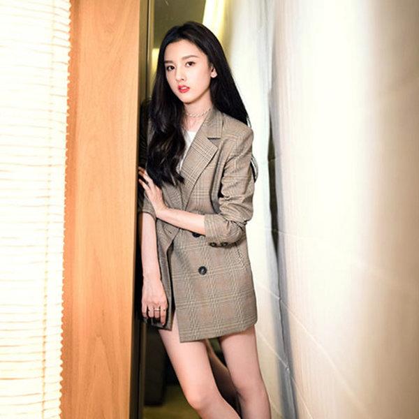 여성 자켓 오버핏 체크 재킷 마이 가디건 코트 DF36 상품이미지