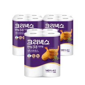 안심 프리미엄 3겹 키친타올 140매4롤3팩/휴지/행주
