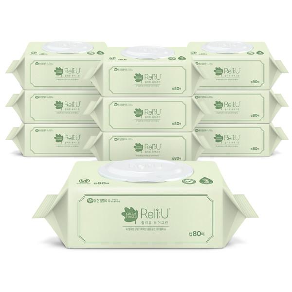 릴리유 퓨어그린 아기물티슈 캡 80매 10팩 상품이미지