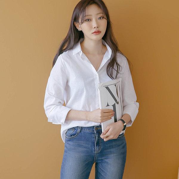 커프스 데일리 셔츠 남방 여성 여자 롱 블라우스 W051 상품이미지