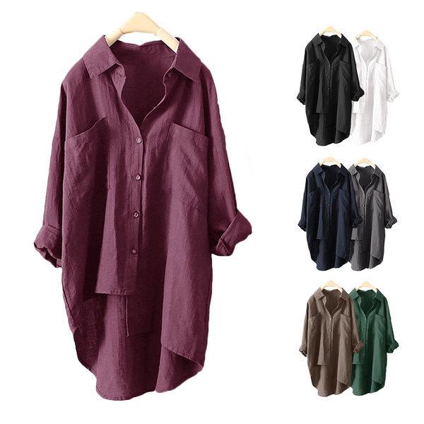 가을특가 린넨 언밸런스드 셔츠 5컬러 M~2XL 상품이미지