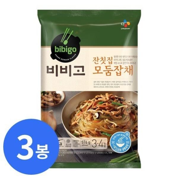 CJ 비비고 잔칫집 모둠잡채 576g 3봉 최대 12인분 상품이미지