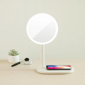 EMOI 무선충전 무드등 메이크업 LED 거울 화이트