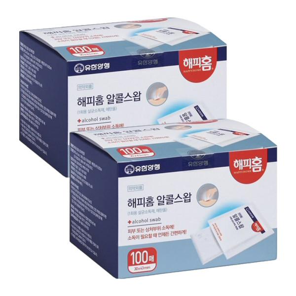해피홈 알콜스왑(알콜솜) 100매 X 2개 해피홈 유한양 상품이미지