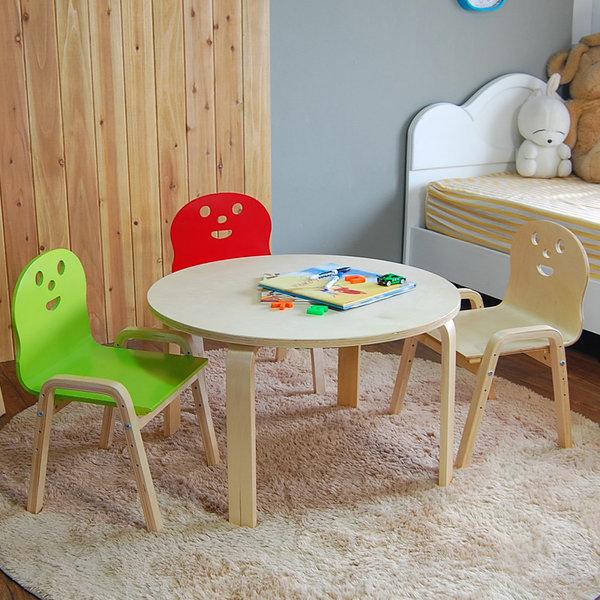 책상세트/ 토리 원목 유아 원형 내추럴책상 의자 상품이미지