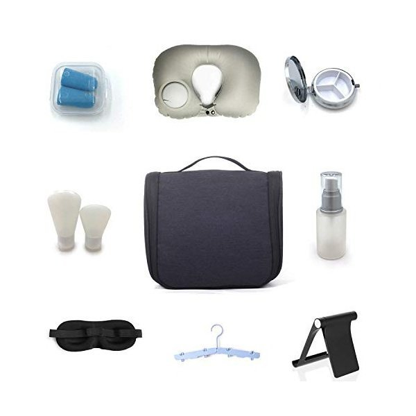 해외쇼핑/Pur Travel Kit for Men and Women- Hanging Toiletry Bag with Inflatable Neck Pillow  Folding 상품이미지