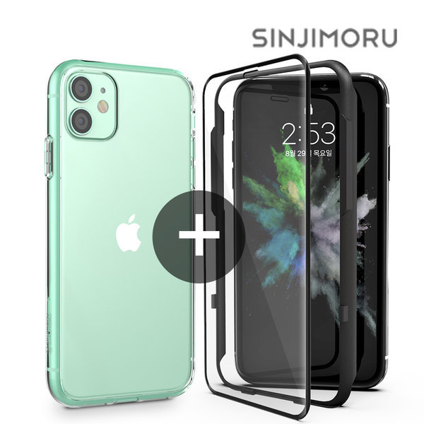 아이폰11 핸드폰 투명 케이스 + 3D강화유리 상품이미지