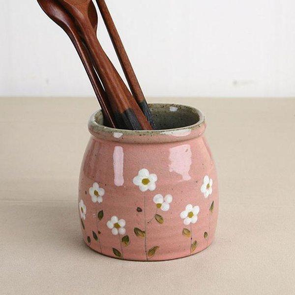 봄맞이꽃 도자기 수저통(소) -분홍색 상품이미지