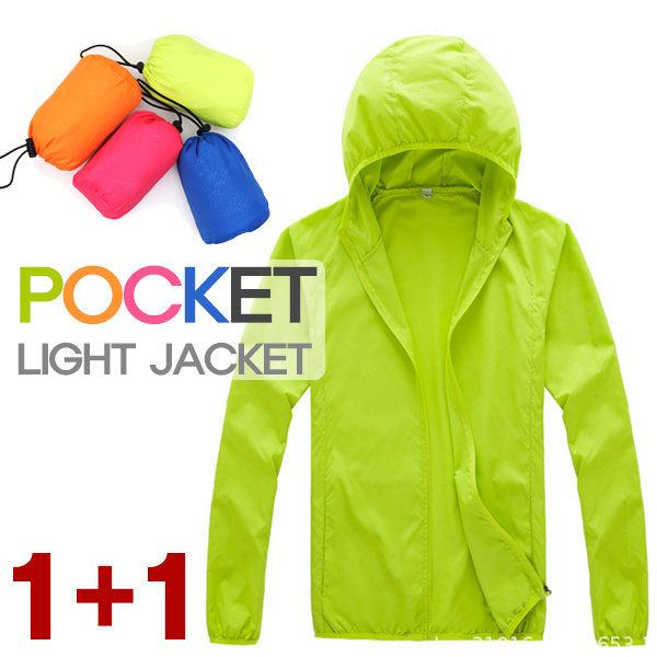 포켓 라이트자켓 남녀공용 바람막이 점퍼 간절기 1+1 상품이미지