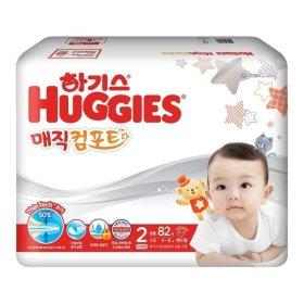 (묶음할인)유한킴벌리_하기스매직뉴컴포트 씬테크 밴드기저귀소형2단계 공용 _82매