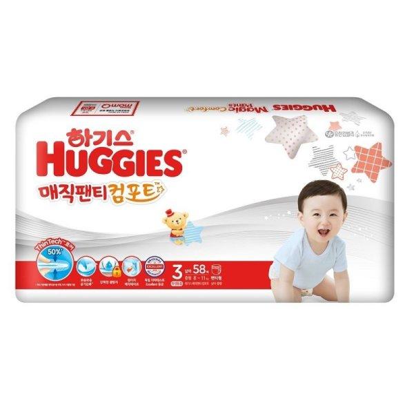 (2+1)유한킴벌리 하기스매직뉴컴포트팬티기저귀중형3단계 남아  58매 상품이미지