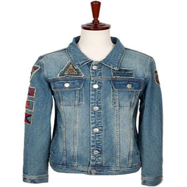 (남자의류도매) 남자옷도매 MJ-996 와펜워싱 청자켓 (FREE) 중청 상품이미지
