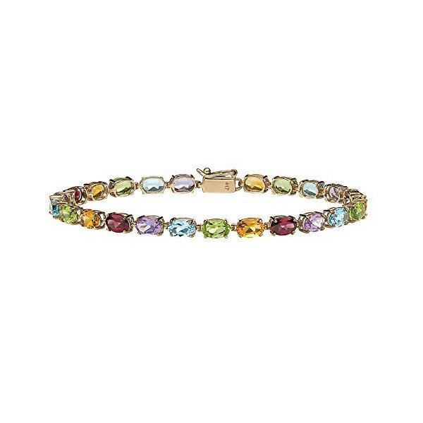 해외쇼핑/Oval-Cut Multi-Color Genuine Gemstone 10k Yellow Gold Tennis Bracelet 7.25 상품이미지
